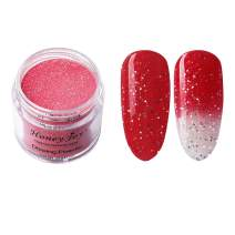 28g/Box Red and White Temperature Color Change Shine Glitter Dip Powder Nails Dipping Nails Long-lasting Nails No UV Light Needed, (W-No.2)