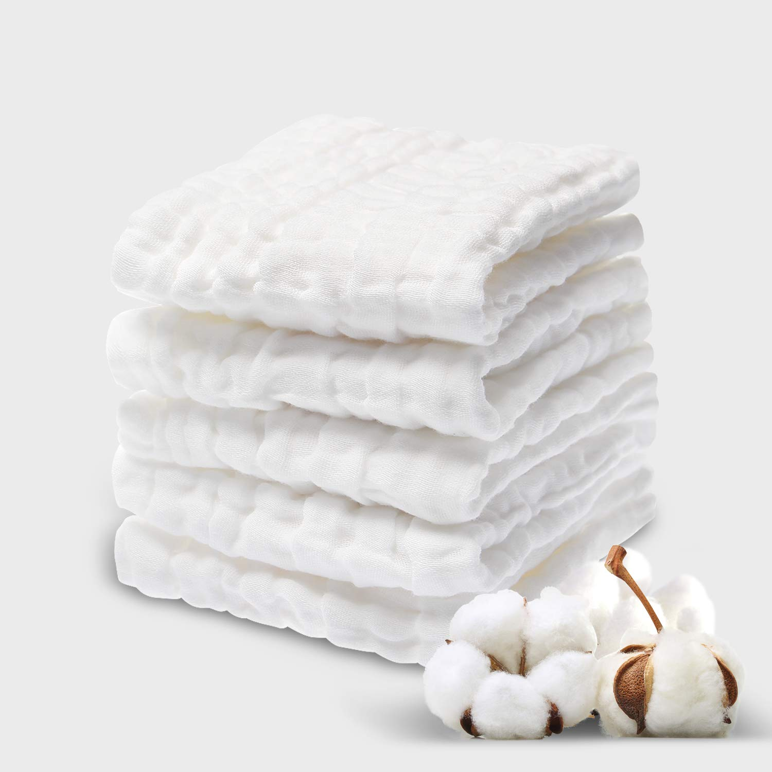 Baby Muslin Washcloths(12x12 inches,5 Pack)-100% Premium Cotton- Chemical Free Baby Wipes- Soft Newborn Baby Face Towel for Sensitive Skin- Baby Registry as Shower Gift.