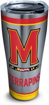 Tervis Maryland Terrapins Tradition Insulated Tumbler with Clear and Black Hammer Lid, 30 oz Stainless Steel, Silver