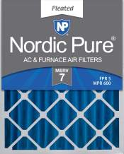 Nordic Pure 16x20x4 (3-5/8 Actual Depth) MERV 7 Pleated AC Furnace Air Filter, Box of 2