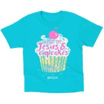 Kerusso Kids I Run On Jesus and Cupcakes T-Shirt - Blue -