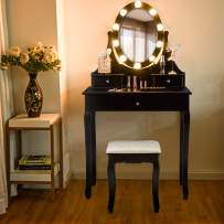 Giantex Vanity Set with Lighted Mirror, Makeup Table with 10 Rose Light, Modern Dressing Desk with Cushioned Stool, 3 Drawers and 360° Rotating Mirror for Bedroom, Vanity Table with Stool (Black)