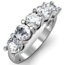 Dazzlingrock Collection 1.00 Carat (ctw) 18K Round White Diamond 5 Stone Bridal Wedding Band Anniversary Ring 1 CT, White Gold