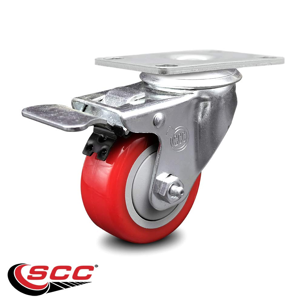 """Service Caster - 3.5"""" x 1.25"""" Red Polyurethane Wheel Swivel Caster with Total Lock Brake - Non-Marking - 300 lbs/Caster"""