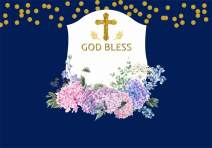 AOFOTO 6x4ft God Bless Cross Backdrop Baby Shower Photobooth Newborn Christening Infant Baptism Blossom Floral Flowers Blue Background for Parties Events Photo Studio Props Vinyl Wallpaper Video Drape