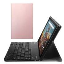 Fintie Keyboard Case for All-New Fire HD 10 (Compatible with 7th and 9th Generations, 2017 and 2019 Releases), Slim Lightweight Stand Cover with Detachable Wireless Bluetooth Keyboard, Rose Gold