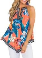 Ecrocoo Women's Sleeveless Tunic Summer Floral Flare Tank Top