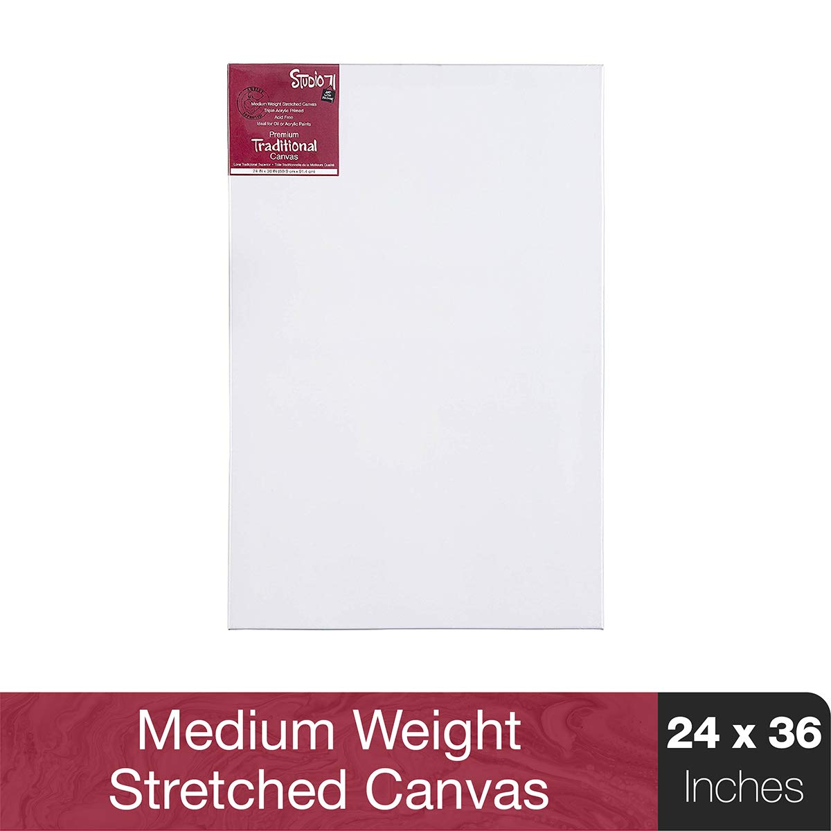 """Studio 71 Medium Weight Traditional Stretched Canvas–24"""" x 36"""" Painting Canvas for Oil or Acrylic Paints, Triple Acrylic Primed Wood Frame Canvas, Acid-Free"""