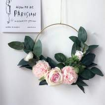 Adeeing Hoop Wreath, 15 Inch Artificial Rose Flower and Vine Wreath Garland Hanging Pendant for Wall Decor Wedding Backdrop (Pink)