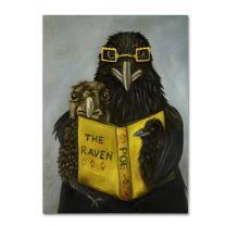 Ravens Read by Leah Saulnier, 14x19-Inch Canvas Wall Art