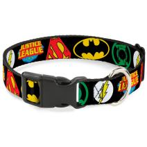 Dog Collar Plastic Clip Justice League Superhero Logos Close Up Black 15 to 26 Inches 1.0 Inch Wide