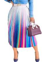 ThusFar Women's Graffiti Pleated African Midi Skirts - Cartoon Printed Elastic Waist A-Line Swing Skater Skirt Dress