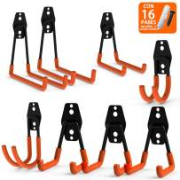 CoolYeah Steel Garage Storage Utility Double Hooks, Heavy Duty for Organizing Power Tools,Ladders,Bulk Items (Pack of 8)