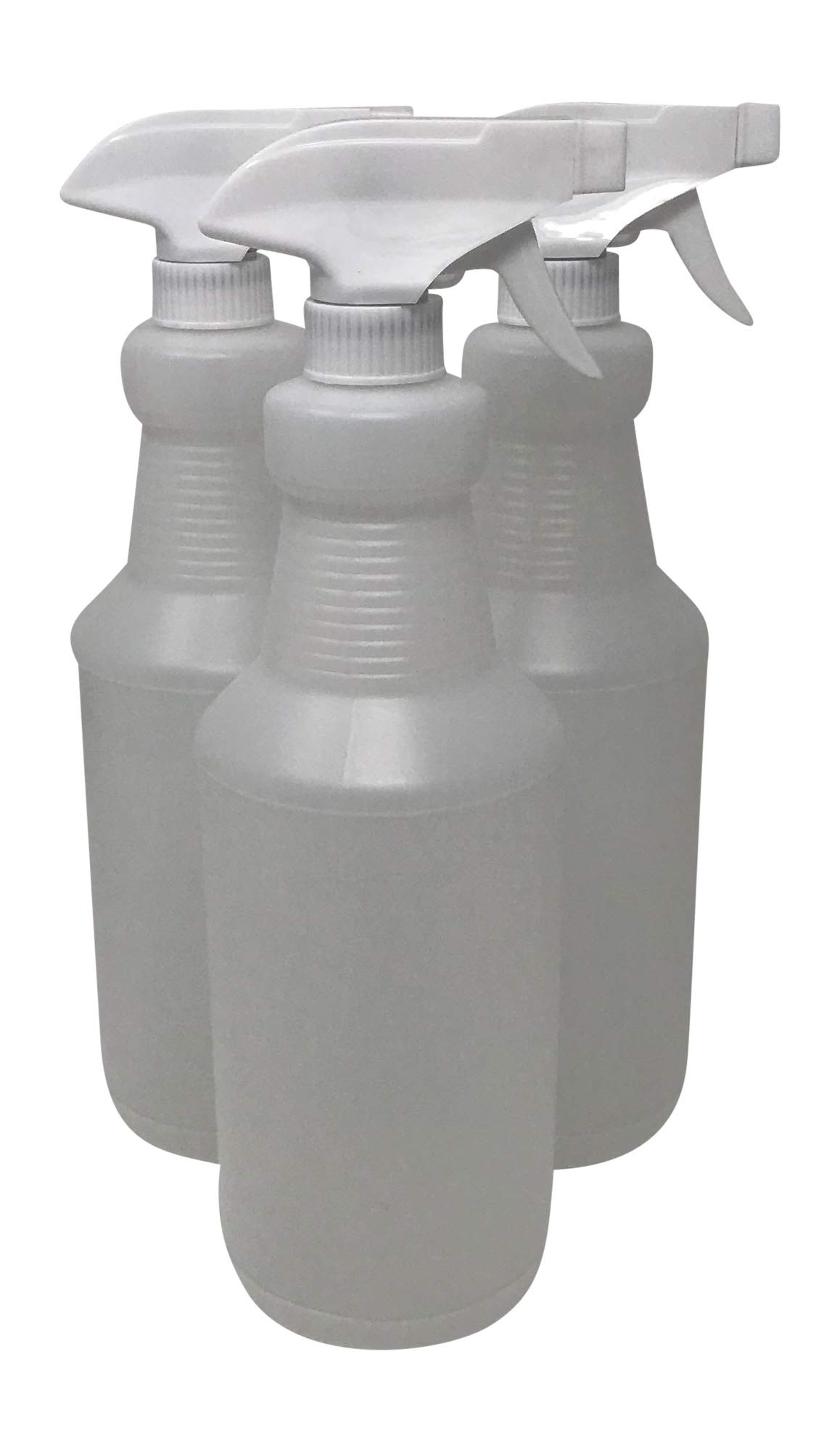 CSBD 32 oz Plastic Spray Bottles, 3 Pack, Empty and Reusable for Cleaning Solutions, Water, Auto Detailing, or Bathroom and Kitchen, Commercial and Residential, Made in USA 3 Pack (White/Simple)