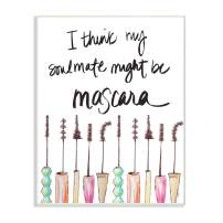 Stupell Industries Mascara Makeup Fashion Modern Watercolor Word Design Wall Plaque, 10 x 15, Multi-Color