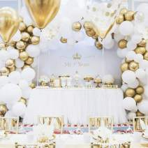 Wedding Decoration Premium Gold Balloons & Gold Confetti Balloons & White Balloons Garland Arch Kit 17FT Baby Shower Birthday Anniversary Bachelorette Party Supplies Background Decoration