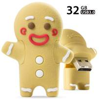 Bone Collection 32GB USB 3.0 Flash Drive, Novelty Cute Cartoon Enclosure Thumb Drive Jump Drive Pen Drive Pendrive Memory Stick - Gingerbread Man
