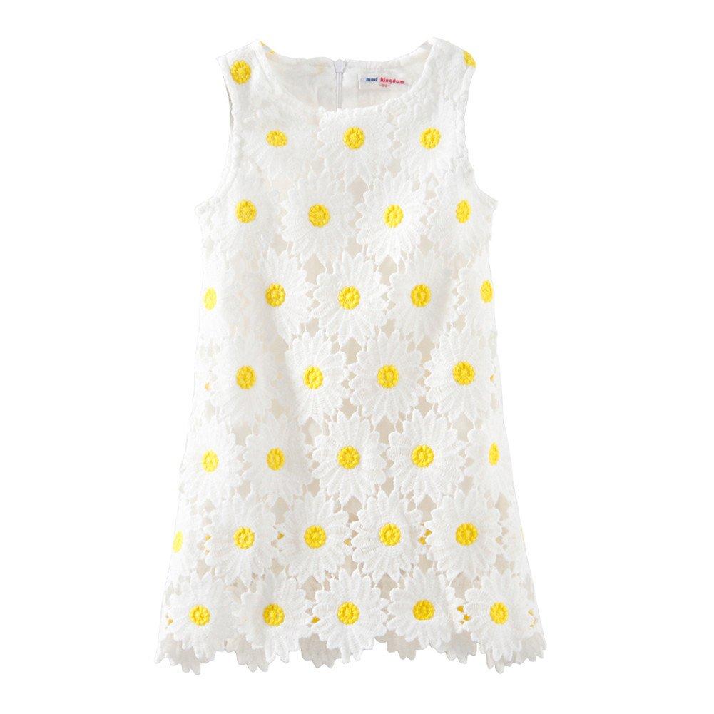 Mud Kingdom Boutique Girl Dress White Sunflower