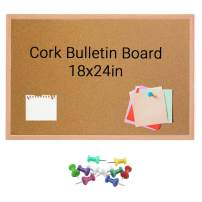 SSubcolo Cork Bulletin Board - Oak Wood Frame, 10 Pins, Pen Tray - Self-Healing 8.5mm Fiberboard for Office Memo, School Message, Work Notice Reminder - Vertical or Horizontal Hanging - 18x24 Inches