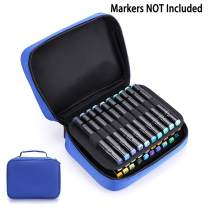 BTSKY Art Marker Carrying Case Lipstick Organizer-40 Slots Canvas Zippered Markers Storage for Copic Prismacolor Touch Spectrum Noir Paint Sharpie Markers, Empty Wallet Only (Blue)