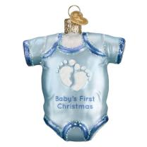 Old World Christmas Collection Glass Blown Ornaments for Christmas Tree, Baby Blue Onesie