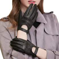 GSG Birthday Gifts Womens Leather Gloves Driving Touchscreen Gloves Black Warm Italian Sheepskin