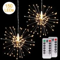 2 Pack 150 LED Fireworks Lights, Hanging Starburst Lights, Battery Operated Fairy String Lights with Remote Control for Christmas, Wedding, Party, Indoor, Outdoor (150 LED, Warm White)