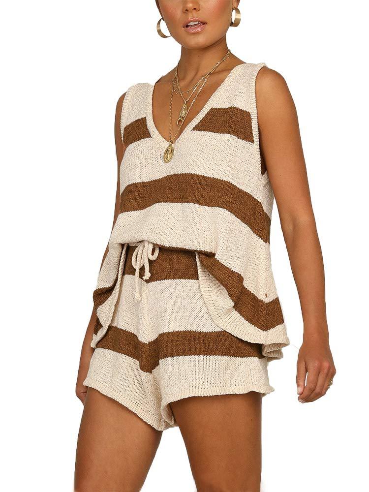 Sobrisah Women's Knitted Set Loungewear Sleeveless 2 Piece Outfits Stripe Top & Shorts Clothing Set