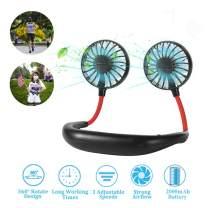 Neck Fan - Hand Free Fan 2020 New Wearable Fan 2000mAh Rechargeable Battery, Headphone Design Fan with 3 Speed, 360 degree Adjustment for Travel Outdoor Home Office Sport