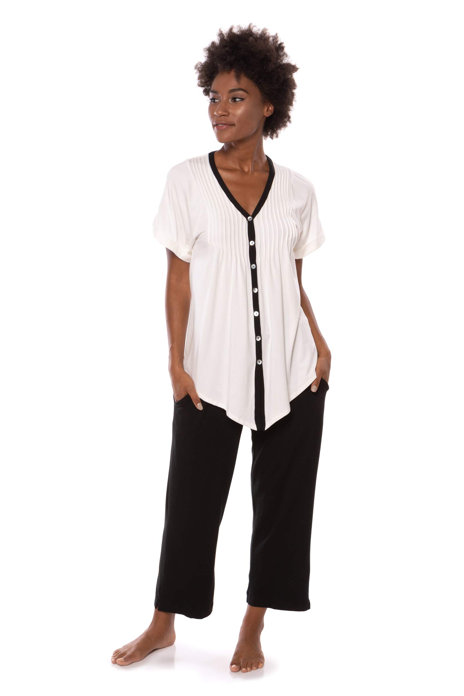 Women's Short Sleeve PJ Set - PJs in Bamboo Viscose by Texere (Sweet Paradise)