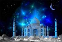 AOFOTO 10x7ft Dreamy Night India Agra Taj Mahal Photography Backdrop Mystery Indian Historical Building Ancient Historic Heritage Tomb Tower Photography Background Cloth Travel Photo Studio Props