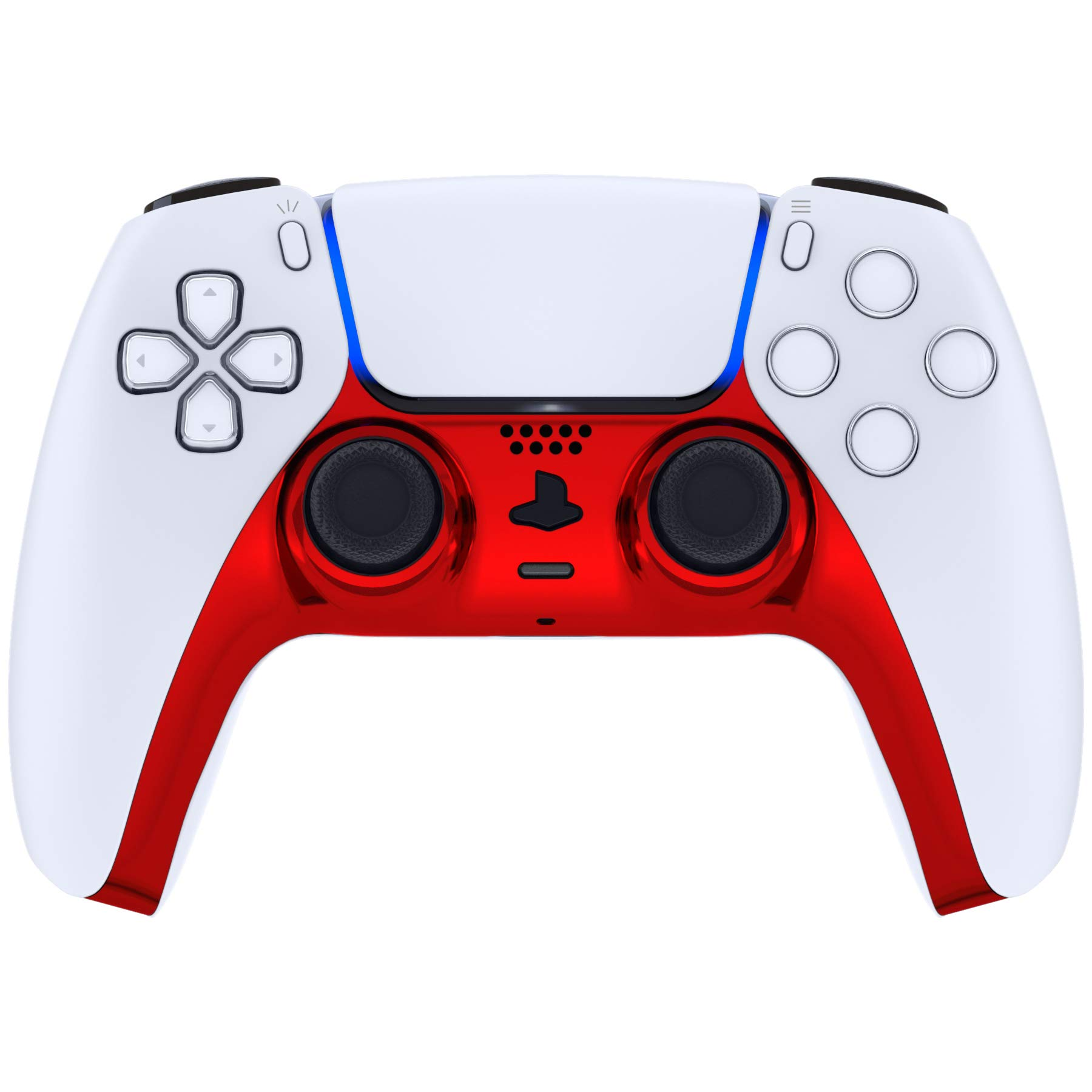 eXtremeRate Chrome Red Glossy Decorative Trim Shell for DualSense 5 Controller, DIY Replacement Clip Shell for PS5 Controller, Custom Plates Cover for Playstation 5 Controller w/Accent Rings