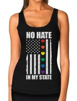 LGBT Hearts No Hate in My State Gay Lesbian Pride American Flag Women Tank Top