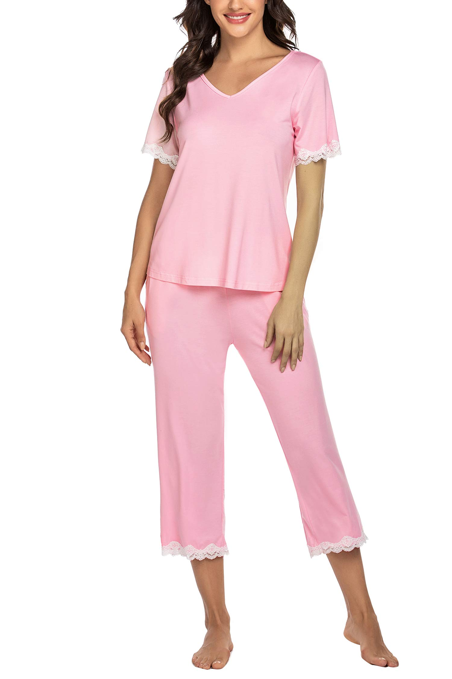 Hotouch Women's Pajamas Set Lace Short Sleeve Sleepwear Top with Capri Pants Pjs Sets S-XXL