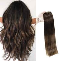 Full Shine 16 Inch Balayage Clip in Hair Extensions 2 Fading to 8 Light Brown With 2 Darkest Brown Remy Hair Extensions 100 Gram 7 Pieces Clip in Human Hair Dip Dyed Human Hair Clip Ins
