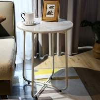 MAYROOM Modern Natural Marble Stone Folding End Table Coffee Desk Home Office Decoration White Black Metal Frame Sturdy Elegant for Living Room Balcony Bed Room (White Table Leg, Cloud White)