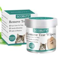 SCOBUTY Pet Eye Wipes,Pet Tear Wipes,Pet Wipes,Eye Tear Stain Remover Wipes for Pets,Natural Tear Eye Stain Remover Pads,Cleansing Eye Wipes,Pet Soft Grooming Wipes