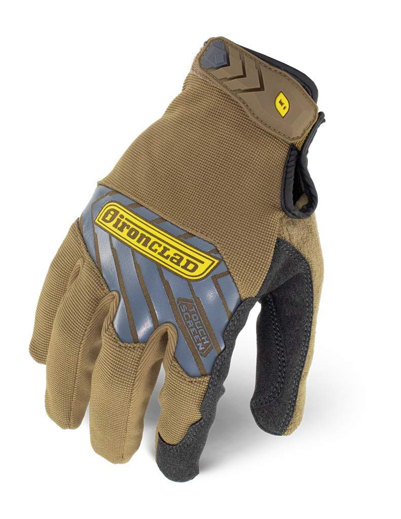Ironclad Command Pro Work Gloves; Touch Screen Gloves Conductive Palm & Fingers, All-Purpose, Performance Fit, Machine Washable, Sized S, M, L, XL, XXL (1 Pair), Brown