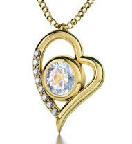 """Gold Plated Sagittarius Heart Necklace Zodiac Pendant for Birthdays 23 November to 21 December 24k Gold Inscribed with Star Sign and Symbol on Swarovski Crystal Stone, 18"""" Gold Filled Chain"""