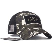 ROWILUX Camouflage Trucker Hat Military Tactical Operator Cap with American Flag Patch Velcro