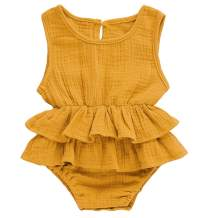 Bowanadacles Newborn Infant Baby Girl Romper Jumpsuit Cotton Linen Sleeveless Ruffled Bodysuit Summer Outfit Clothes