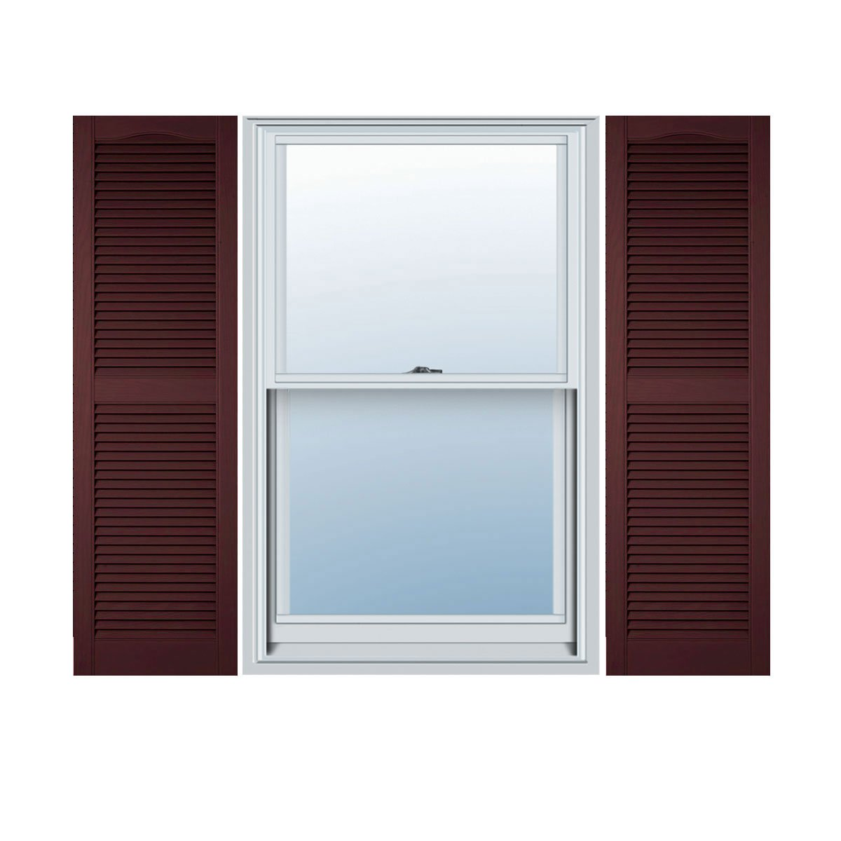 "Ekena Millwork LL1C12X03000BD Custom Cathedral Top Center Mullion, Open LouverShutter (Per Pair)12""W x 30""HBordeaux"