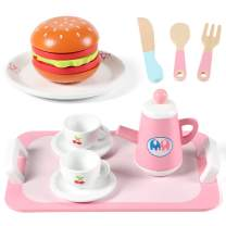 Lewo 16 PCS Wooden Tea Set Educational Toys Play Food Accessories Pretend Play Tea Party Set for Kids Toddlers Little Girls