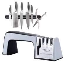 Knife Sharpener Scissor Sharpener, Professional Kitchen Sharpener 4 in 1 Knife and Scissor Sharpening Device Non-slip Base with Ergonomic Design for All Sized Household Knives Christmas Gift for Mom