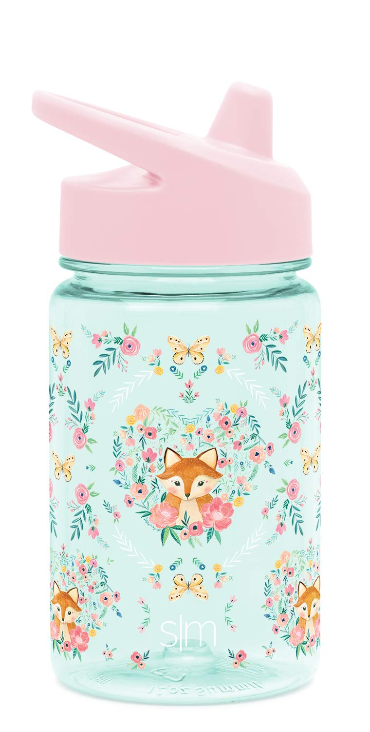 Simple Modern Kids Tritan Summit Sippy Cup for Toddlers - 12oz Plastic Baby Water Bottle for Girls and Boys - Fox and The Flower - Butterfly & Hearts