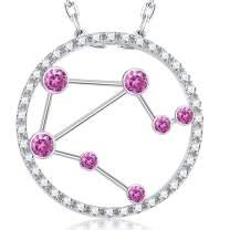 April Birthstone Simulated Diamond Jewelry for Women Birthday Gifts Zodiac Horoscope Libra Constellation Jewelry Charm Star Pendant Sterling Silver