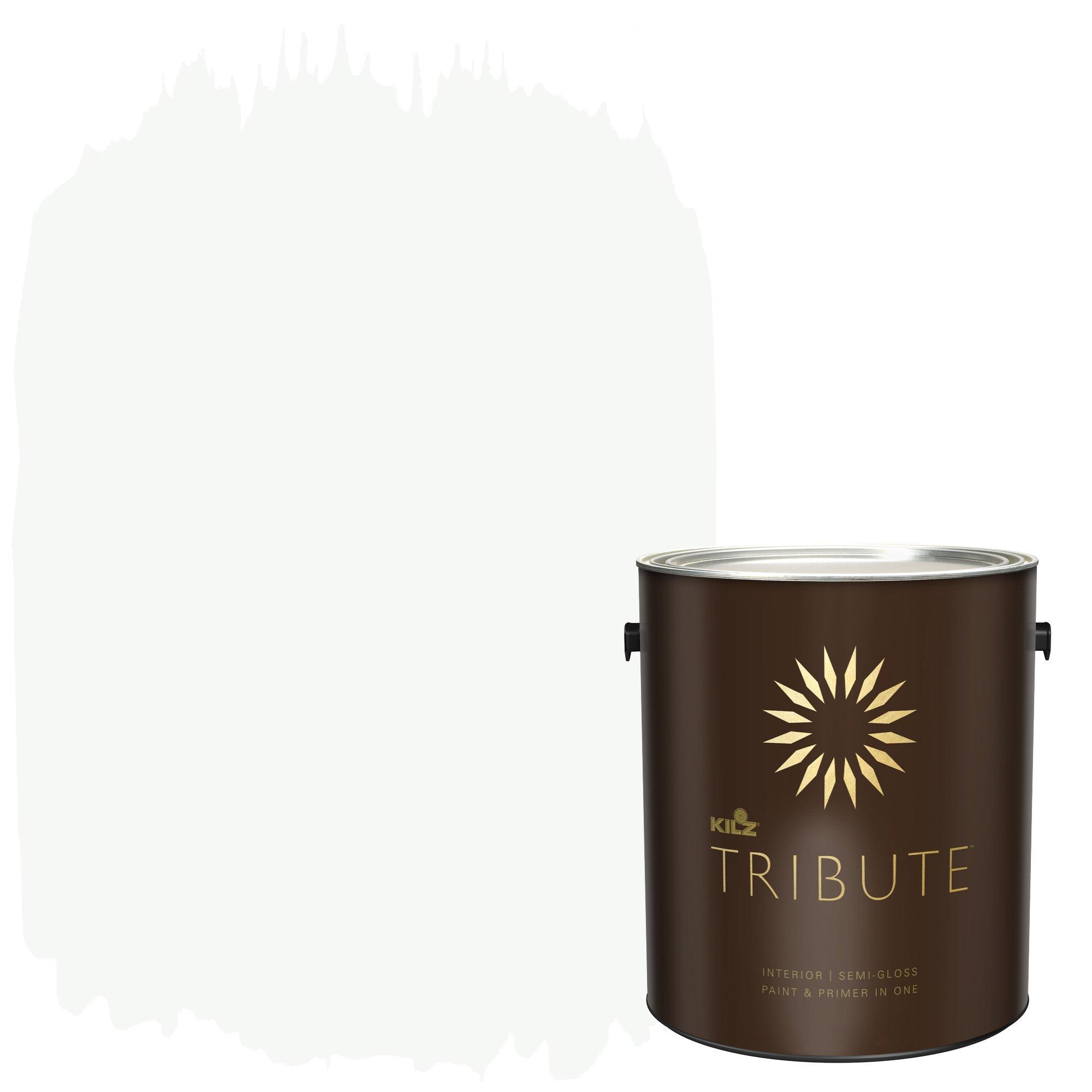 KILZ TRIBUTE Interior Semi-Gloss Paint and Primer in One, 1 Gallon, Ultra Bright White (TB-01)