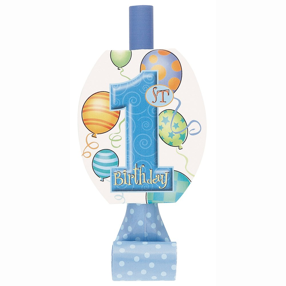 Blue Balloons Boy 1st Birthday Party Blowers, 8ct