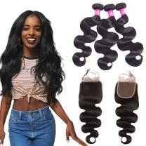 "16""18""20""+14"" Body Wave Hair 3 Bundles With Closure 4x4 Swiss Lace Closure Medium Brown Skin Color Lace Pre-Plucked With Baby Hair 100% Unprocessed Human Virgin Hair Bundles With Closure Natural Black"