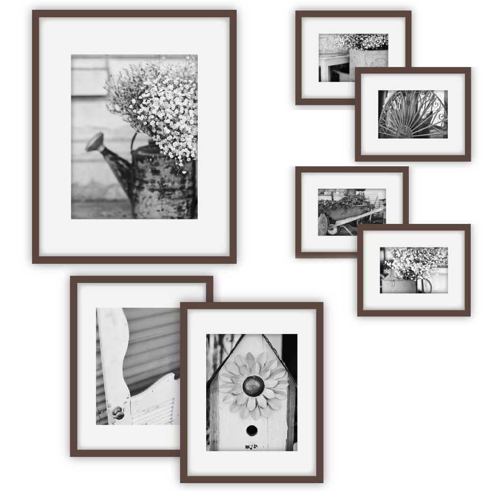 """Gallery Perfect Gallery Wall Kit Photo Decorative Art Prints & Hanging Template Picture Frame Set, Multi Size - 8"""" x 10"""", 5"""" x 7"""", 4"""" x 6"""", Walnut, 7 Piece"""